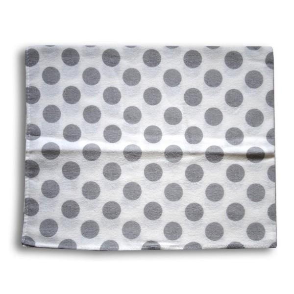 Pieluszka flanelowa 70x80 grochy szare na białym