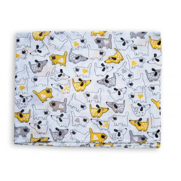 Pieluszka tetra druk 70x80cm - pies i kot żółty