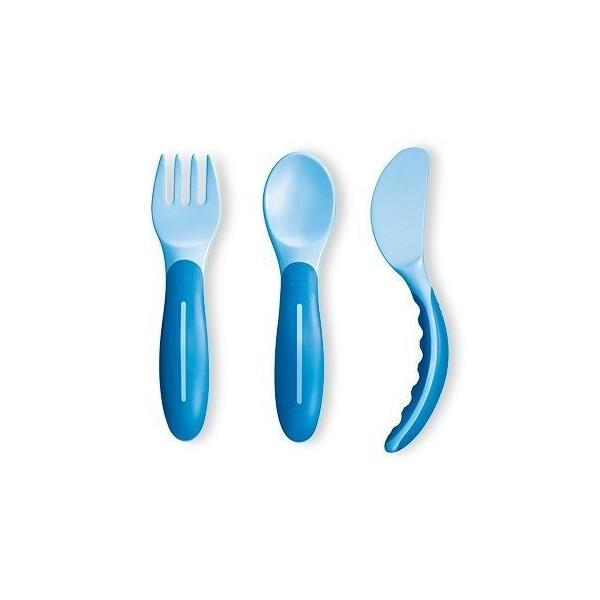 Sztućce do nauki jedzenia MAM niebieskie